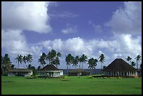 Homes near the ocean in Vailoa. Tutuila, American Samoa