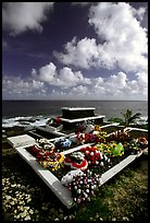 Tombs near the ocean in Vailoa. Tutuila, American Samoa (color)