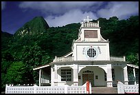 Church and verdant hills in Afono. Tutuila, American Samoa (color)