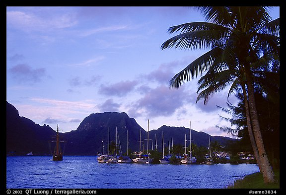 Yachts anchored in Pago Pago harbor. Pago Pago, Tutuila, American Samoa (color)