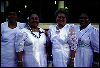 Sunday women churchgoers dressed in white, Pago Pago. Pago Pago, Tutuila, American Samoa ( color)