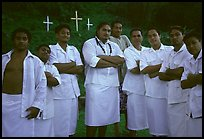 Sunday men churchgoers traditionally dressed, Pago Pago. Pago Pago, Tutuila, American Samoa (color)