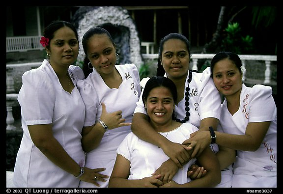 Young women dressed in white for sunday church, Pago Pago. Pago Pago, Tutuila, American Samoa (color)
