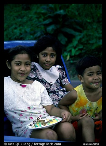 Children in a truck bed. Pago Pago, Tutuila, American Samoa (color)