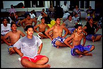 Villagers getting ready for traditional dance, Aua. Tutuila, American Samoa ( color)