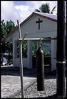 Gong and church, Aunuu village. Aunuu Island, American Samoa ( color)