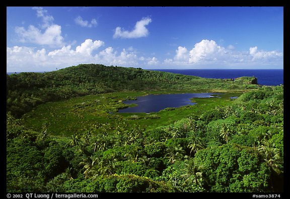 View of the island interior with Red Lake. Aunuu Island, American Samoa