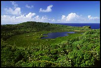 View of the island interior with Red Lake. Aunuu Island, American Samoa (color)