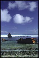 Shipwreck of the Young Kwan. Aunuu Island, American Samoa (color)