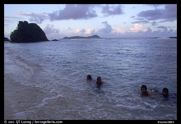 Children in the water. Tutuila, American Samoa (color)
