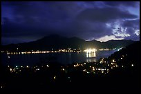 Pago Pago harbor at night. Pago Pago, Tutuila, American Samoa (color)