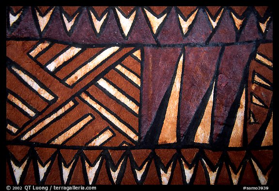 Siapo (bark cloth made from the inner bark of the paper mulberry tree) artwork. Pago Pago, Tutuila, American Samoa (color)