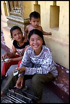Children at Wat Phnom. Phnom Penh, Cambodia (color)