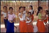 Girls learn traditional dancing at  Apsara Arts  school. Phnom Penh, Cambodia ( color)