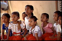 Girls learn traditional singing at  Apsara Arts  school. Phnom Penh, Cambodia (color)