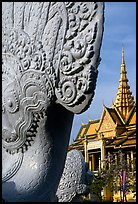 Statue and pagoda, Royal palace. Phnom Penh, Cambodia ( color)