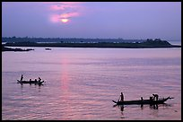 Boats at sunrise, Tonle Sap river,  Phnom Phen. Cambodia (color)