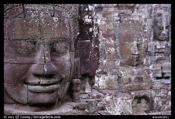 Serene and massive stone faces, the Bayon. Angkor, Cambodia