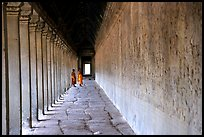 Eterior deambulatory of Angkor Wat, all covered with bas-reliefs. Angkor, Cambodia (color)