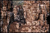 Large stone smiling faces on upper terrace, the Bayon. Angkor, Cambodia ( color)