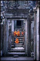 Buddhist monks in the Bayon. Angkor, Cambodia ( color)