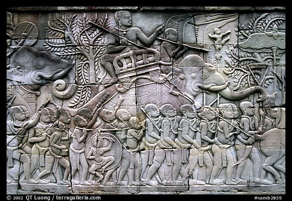 Bas reliefs, the Bayon. Angkor, Cambodia (color)