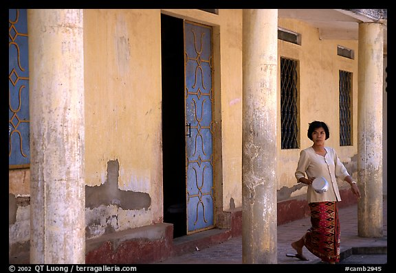 Woman in downtown building. Phnom Penh, Cambodia (color)