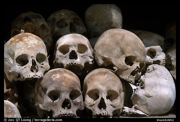 Human Skulls, Choeng Ek Killing Fields memorial. Phnom Penh, Cambodia (color)