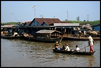 Houses along Tonle Sap river. Cambodia