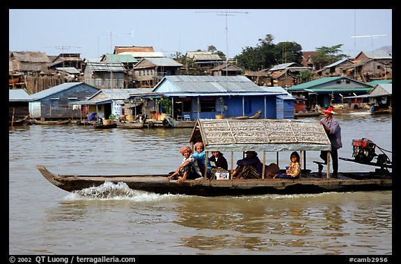 Motor boat along Tonle Sap river. Cambodia (color)