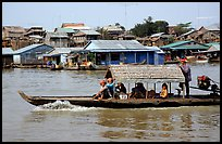 Motor boat along Tonle Sap river. Cambodia ( color)