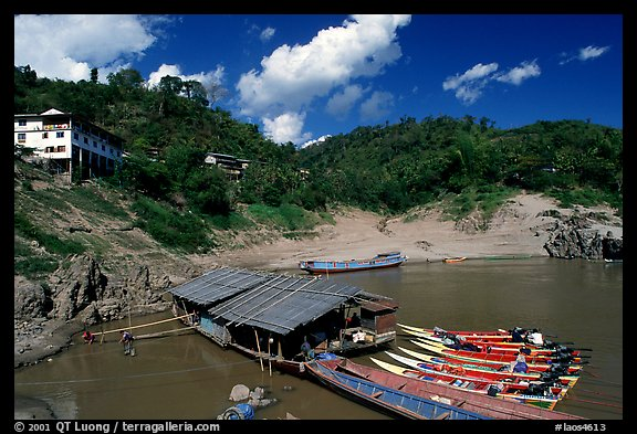 fast boats at Pakbeng. Mekong river, Laos