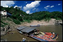 fast boats at Pakbeng. Mekong river, Laos (color)