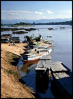 Slow passenger boats in Huay Xai. Mekong river, Laos