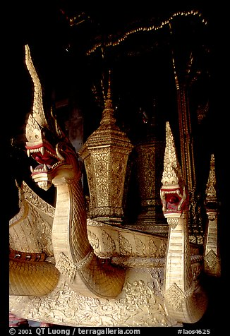Funeral vehicle at Wat Xieng Thong. Luang Prabang, Laos (color)