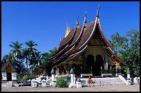 Front of the Sim of Wat Xieng Thong. Luang Prabang, Laos (color)