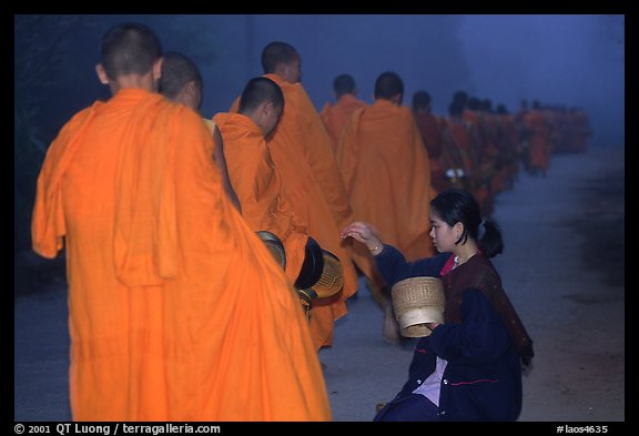Woman gives alm during morning procession of buddhist monks. Luang Prabang, Laos