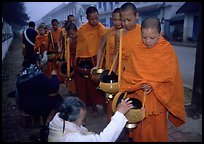Women give alm during morning procession of buddhist monks. Luang Prabang, Laos (color)
