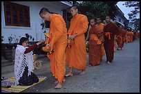 Buddhist monks receiving alm from woman. Luang Prabang, Laos