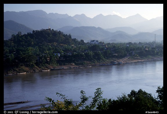 The town accross the Mekong river. Luang Prabang, Laos (color)