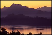 Hills, sunset on the Mekong river. Luang Prabang, Laos ( color)