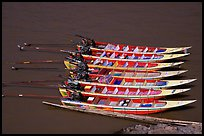 Fast boats on the Mekong river. With their 40 HPW Toyota engines, they cruise at 50 mph on the river. Mekong river, Laos