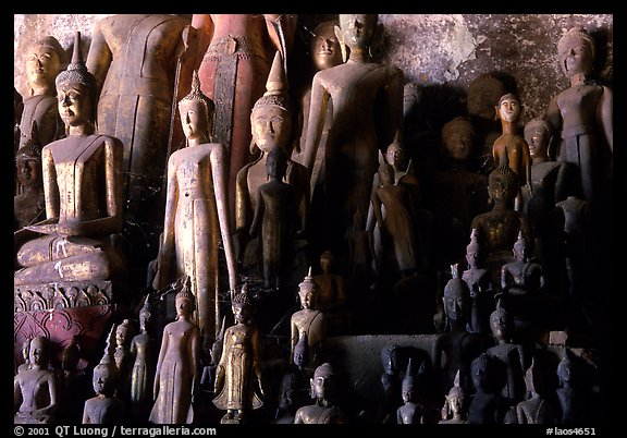 Lao style Buddha sculptures assembled over the centuries by local people, Pak Ou. Laos (color)