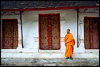 Novice Buddhist monk at Wat Pakkhan. Luang Prabang, Laos (color)