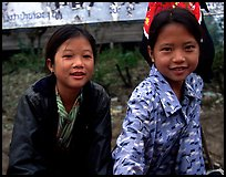 Two young girls at the market. Luang Prabang, Laos ( color)