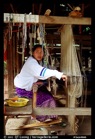 Traditional weaving in Ban Phanom village. Luang Prabang, Laos (color)
