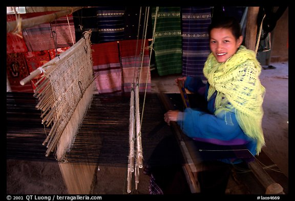 Ban That Laos  city photos : Picture/Photo: Traditional weaving in Ban Xang Hai village. Laos