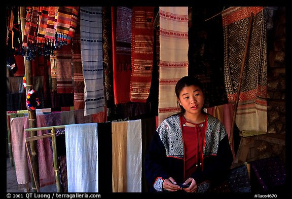 Crafts for sale in Ban Xang Hai village. Laos (color)