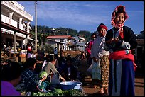 Women in tribal clothes at the Huay Xai market. Laos (color)