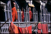 Monks in residential quarters, Shwedagon Paya. Yangon, Myanmar (color)
